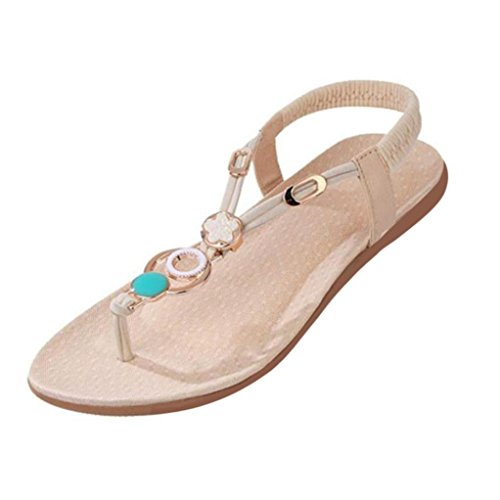 Beaded Flat - Clearance! ❤️ Women Sandals, Neartime 2018 Summer Fashion Bohemia Sweet Beaded Clip Toe Wild Casual Beach Flats (US5.5, Beige)