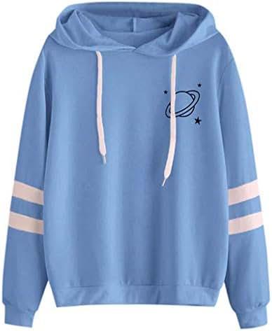 NOMUSING Fashion Womens Pullover Sweatshirt Hoodie Drawstring Long Sleeve Planet Print Casual Fashion Tops Blouse Tunic