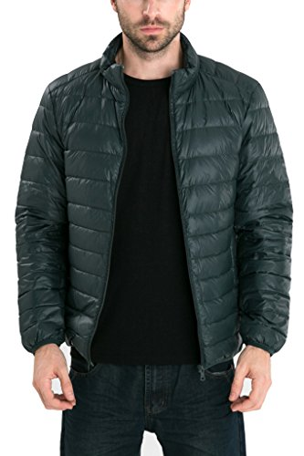 Men's Retro Lightweight Packable Down Puffer Coat Stylish Outerwear Jacket
