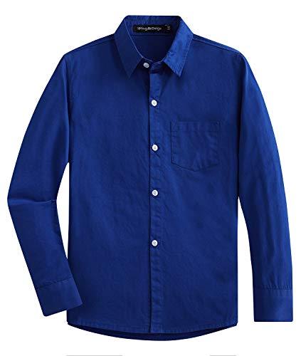 (Spring&Gege Boys' Long Sleeve Solid Formal Cotton Twill Dress Shirts Royal Blue 3-4)