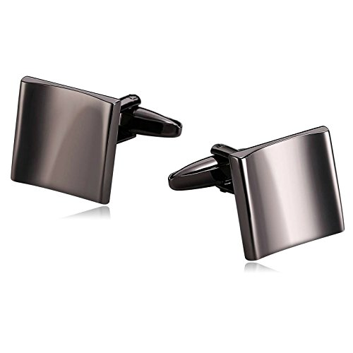 Anazoz Men's Jewelry, Business Style Simple Smooth Concave Face Square Black Stainless Steel Cuff Links For - Texas Face Square