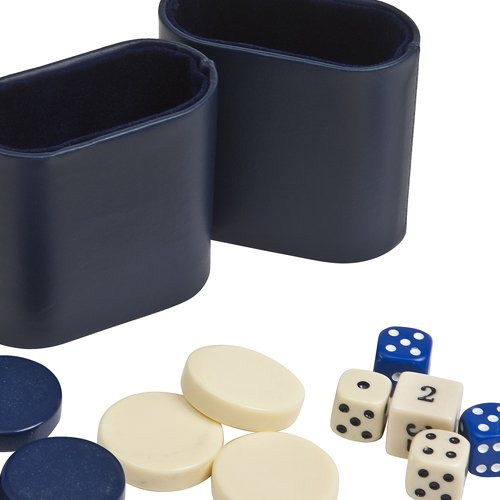 """Backgammon Checkers, Dice & Two Dice Cups-Blue/Ivory 7/8"""""""