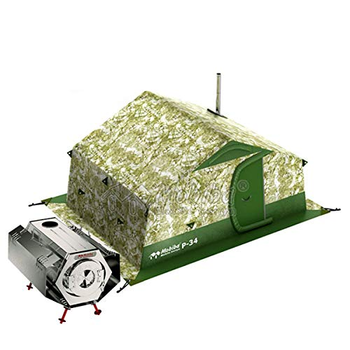 Mobiba Portable All-Season Double-Layered Expedition Tent R-34 (Accommodation 3-6 pers.) + Portable Compact Heater-Stove Prolonged Woodburning Sogra-3″