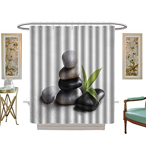 3 Asha Stone - Shower Curtains 3D Digital Printing Zen Basalt Stones and Bamboo on The Sand Bathroom Set with Hooks Size:W72 x L96 inch