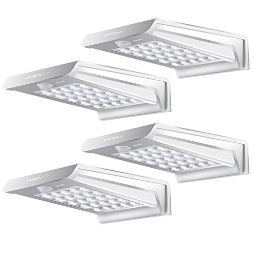 Solar Lights,URPOWER 20 LED Outdoor Solar Motion Sensor Lights ,Solar Powered Wireless Waterproof Exterior Security Wall Light for Patio,Deck,Yard,Garden,Path,Home,Driveway,Stairs,NO DIM MODE(4Pack)