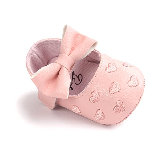 Loafer Soft Soled Leather Shoes (Itaar Baby Girl Moccasins Bow PU Leather Heart Embroidered Soft Soled Shoes for Infants Toddlers)