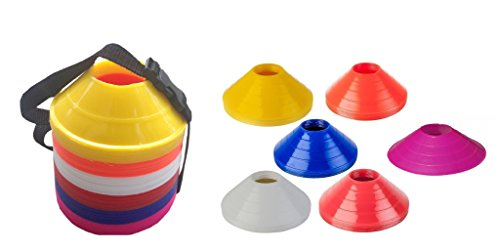 (Set Of 60 Mini Track & Field Agility Training Boundary Marker Disc Saucer Cones)