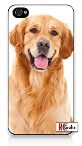 Happy Panting Golden Retriever Dog iPhone 4 Quality Hard Snap On Case for iPhone 4 4S 4G - AT&T Sprint Verizon - White Case Cover