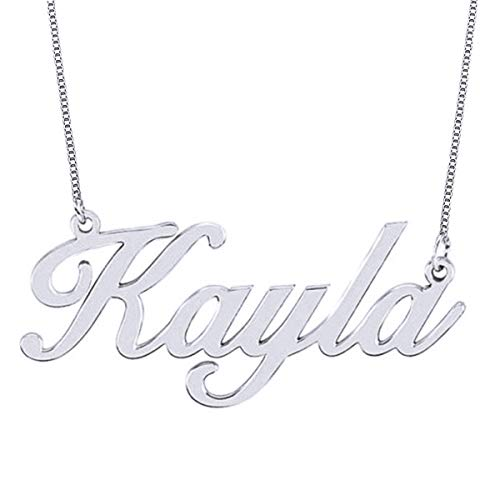 HACOOL 18k Rose Gold Plated Sterling Silver Name Necklace Custom Made with Any Name (White Gold Plated -