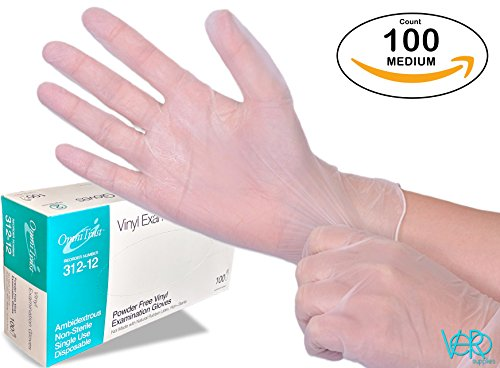 nyl Gloves 100 Count (One Pack) - Powder Free, Clear, Latex Free and Allergy Free, Plastic, Medical, Food Service, Cleaning Service ()