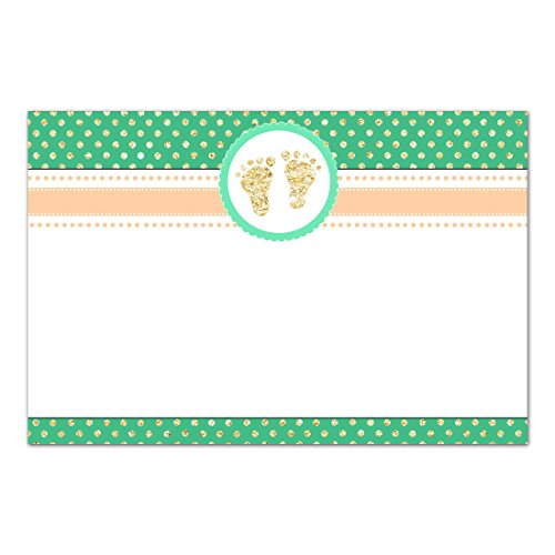 30 Blank Cards Invitations Thank You Cards Baby Shower Green Gold Footprints + 30 White Envelopes Baby Feet Flat Card