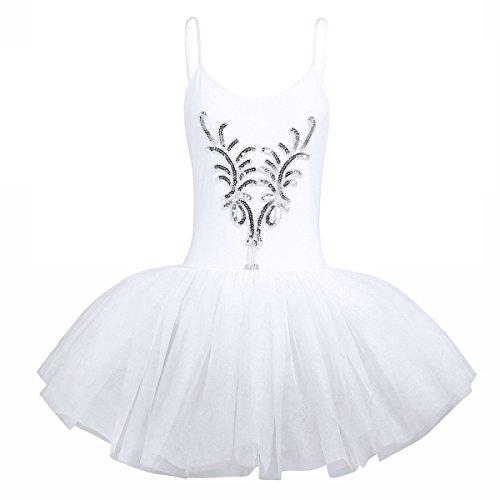 White Swan Ballerina Costume (YiZYiF Women's Ballet Tutu Bustle Costume 3D Flower Swan Lake Dance Leotard Dress White X-Small)