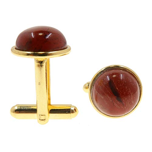 SatinCrystals Jasper Red Cufflinks 12mm Boutique Genuine Stone Polished Circle Metal Pair B01 (Gold-Plated-Brass)