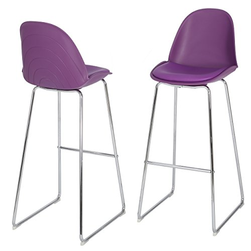 Lisben Modern Bar Stool Chair Set of Two (Purple)