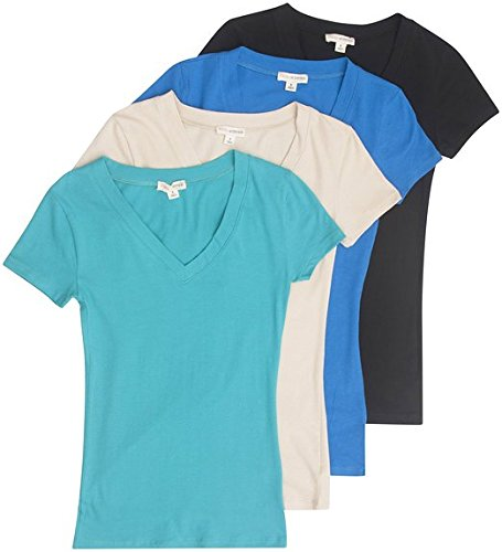 4 Pack Zenana Women's Basic V-Neck T-Shirts Small Black, Taupe, S Teal, B Blue