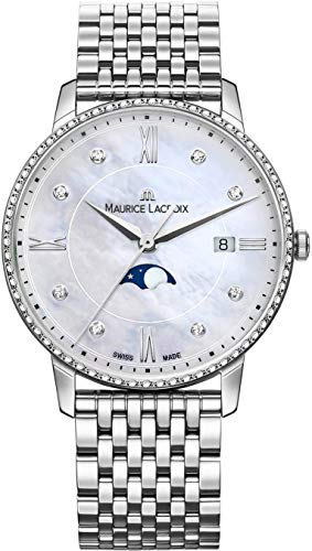 Maurice Lacroix Women's Eliros Moonphase 35mm Watch | Diamond/Pearl/Silver