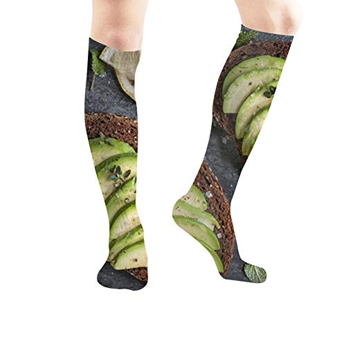 Avocado Sandwich On Dark Rye Bread Food and Drink Casual Socks Athletic Socks for Women and Mens Sports, Travel, Party Etc 23.6 Inch