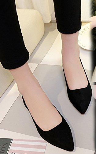 Ballerines Plat Femme Bout Suédé Pointu Mode Noir Aisun 8YPwq6BRw
