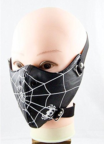 Spider Web Ski Motorcycle Biker Cosplay Horror Steampunk Punk Goth PU Leather Mouth Half Face Mask