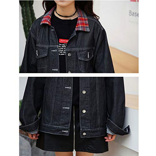 Amazon.com: Black Denim Jacket Female Loose Long Jean Jacket ...