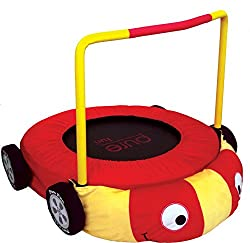 "Pure Fun Kids Jumper: 38"" Race Car Mini Trampoline With Handrail, Youth Ages 4 To 10"