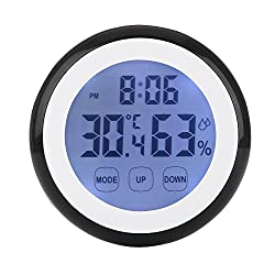 Digital Thermometer Hygrometer Clock, LAFEINA Temperature Humidity Monitor Alarm Clock Touch Screen with Backlight Magnetic Back for Home Office Baby Room (Black)