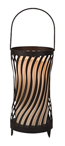 Gerson Candle Tunes Lantern with Wavy Edge Resin Candle w...