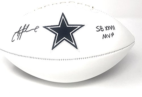 Troy Aikman Collectibles - Troy Aikman Dallas Cowboys Signed Autograph Embroidered Logo Football Inscribed SB XXVII MVP Aikman GTSM Player Hologram