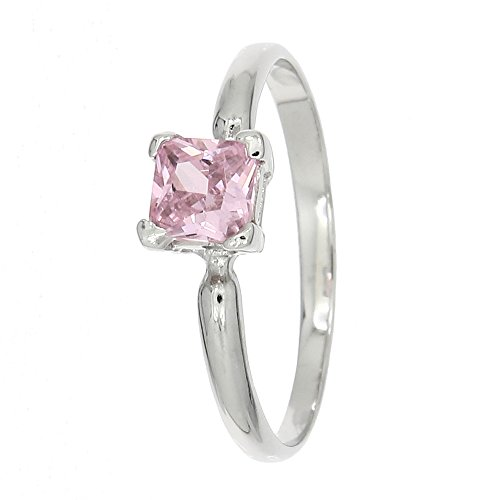 Sterling Silver Rhodium Plated Cubic Zirconia Princess Cut Children's Ring Birth Month October Alternate (4)