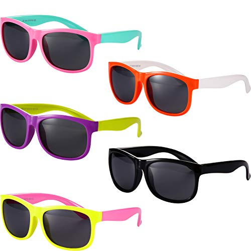 5 Pieces Kids Polarized Sunglasses Rubber Flexible Shades for Girls Boys Aged 3-12
