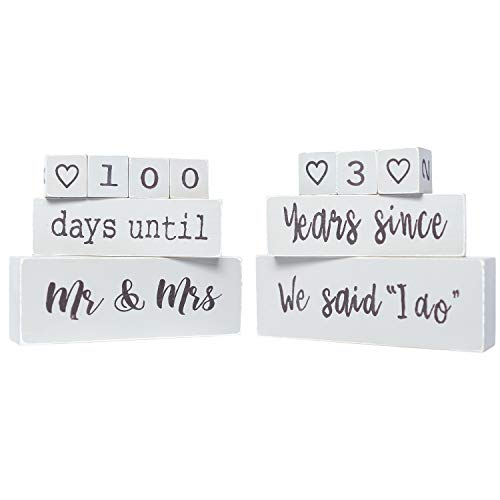 Bride To Be The Original Reversible Wedding & Anniversary Countdown Table Block (6 Piece) - Unique & Funny Engagement Gift for a Bride, Fiancé or Couples. Perfect for Bridal Shower or Engagement Party