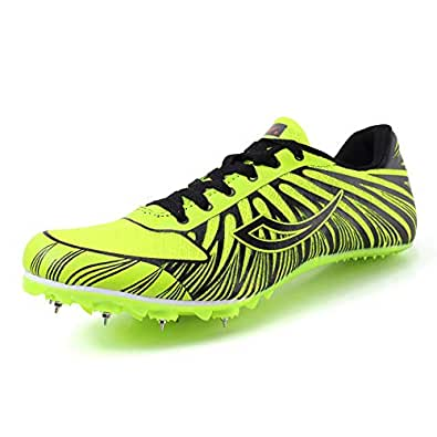 Women's Men's Track and Field Sneaker Spikes Track Shoes Athletics Racing Distance Sprint Running High Jump Shoes for Youth, Teens, Kids, Boys and Girls Green Size: 6 M US Women / 4.5 M US Men