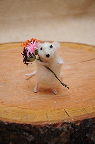 Needle Felted Art Doll Felt White Mouse 2.5in. height . Cute mouse with flowers! - Needle Felted Mouse
