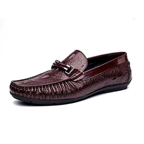 WZG Los zapatos nuevos zapatos de cuero de cocodrilo patrón de los hombres de los guisantes transpirables hombres zapatos de cuero de zapatos de los guisantes de conducción de marea zapatos casuales z wine red