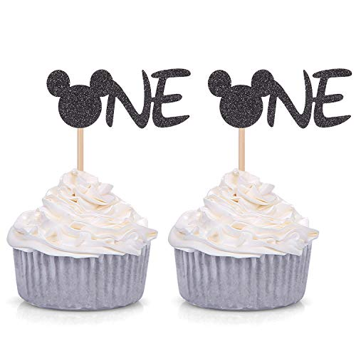 24 Counts Black Glitter Mickey Mouse Inspired Cupcake Toppers Minnie One Baby Birthday Party -