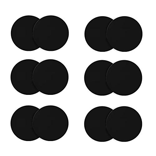 Ozgoe Happy Bell (12 Pack) Mini Mount Metal Plate with Adhesive for Collapsible Grip & Magnetic Phone Car Mount Holder Cradle (Compatible with Magnetic Mounts),Black