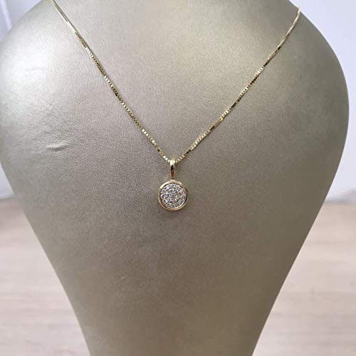 Yellow gold diamond circle necklace paved with 0.13 carats of diamonds -