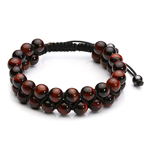 Top Plaza Men Women 8mm Tiger Eye Stone Aromatherapy Essential Oil Diffuser Bracelet Braided Rope Natural Stone Yoga Beads Bracelets Bangle(Red Tiger Eye Stone)