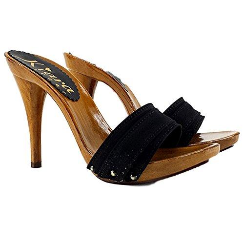 Shoes A Made Cm 12 Con Km7101 nero Tacco In Italy zoccolo Mano Fatto Kiara dnxwCq47d