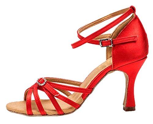 Tda Dames Peep Toe Weven Stijl Gesp Satijn Salsa Tango Samba Modern Latin Dansschoenen 7.5cm Rood
