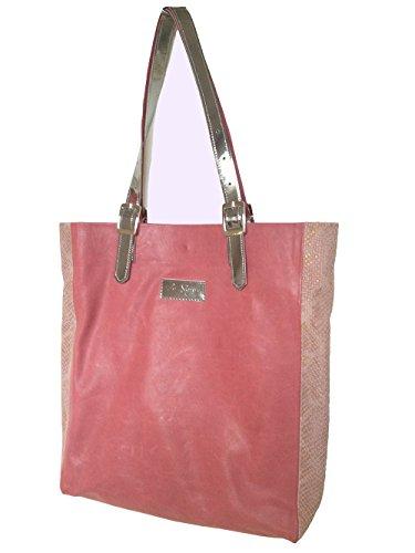 Leder Schultertasche Handtasche Einkauftasche Himbeere
