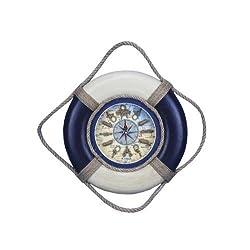 Hampton Nautical  Decorative Antique Lifering Clock, 18, Blue