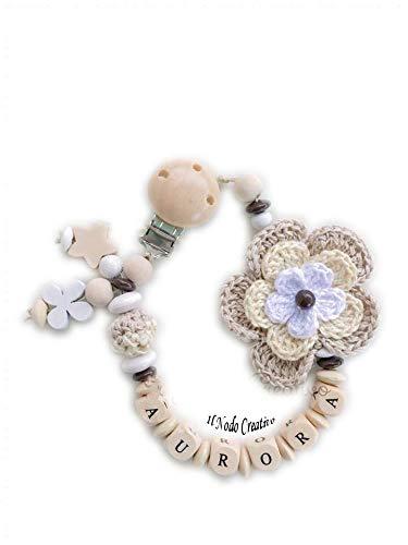 Chupetero con flores 3D de crochet | cadena de chupete con ...