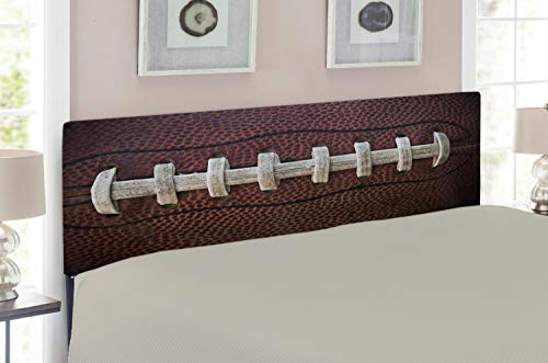 Lunarable Sports Headboard for Full Size Bed, American Football Leather Laces Fun Traditional Sport Close Up Photo Print, Upholstered Decorative Metal Headboard with Memory Foam, Dark Brown Beige