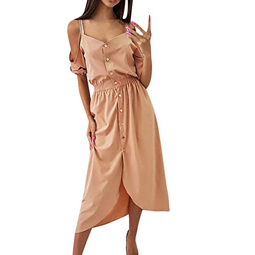 ANJUNIE Solid Swing Dress,Women Half Sleeve Cold Shoulder Dress Ladies Casual Button Dress(Khaki,L) -