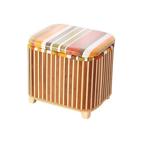 YINGYING Ottoman Storage Footstool, Natural Woven Ottoman Padded Stool, with Cover Bamboo Storage Foot Stool Multi-Functional Environmental Health (Color : A)