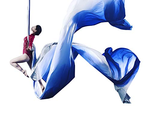Ombre Aerial Silks Hand Dyed Aerial Fabrics for Aerial Yoga, Aerial Yoga Hammock, Aerial Acrobatic,Circus Arts, Aerial Dance (Blue Light, Swivel - Ring Stretch Daisy