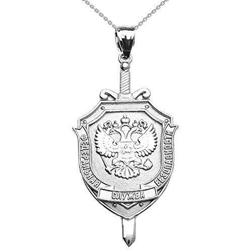 Collier Femme Pendentif 10 Ct Or Blanc Russe Fédéral 'Naya Sluzhba Bezopasnosti (Fsb )-Fédéral Sécurité Service Logo (Livré avec une 45cm Chaîne)