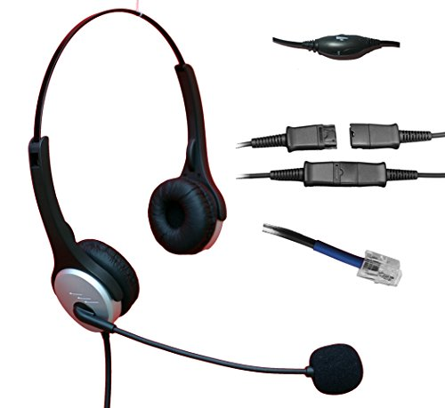 Voistek Corded Binaural Call Center Telephone RJ Headset Noise Cancelling Headphone with Microphone and Quick Disconnect for Cisco 7970 9971 Office IP phones and Planronics M10 M12 M22 MX10 Amplifiers (Corded Headset Amplifier)