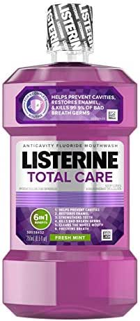 Listerine Total Care Anticavity Mouthwash, 6 Benefit Fluoride Mouthwash for Bad Breath and Enamel Strength, Fresh Mint Flavor, 250 mL